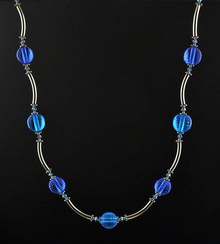 Transparent blue aqua & silver necklace #0379