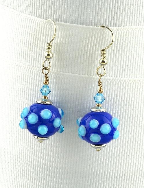 Lapis blu w/ aqua bump earrings #0339