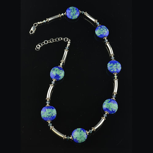 Lapis celedon sterling silver necklace  #0287