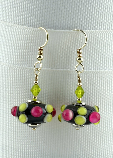 Black w/ raised rose & lime bump earrings #0386