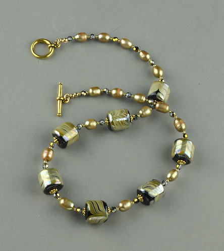 Cylinder gold glass bead w/ pearls necklace #0334