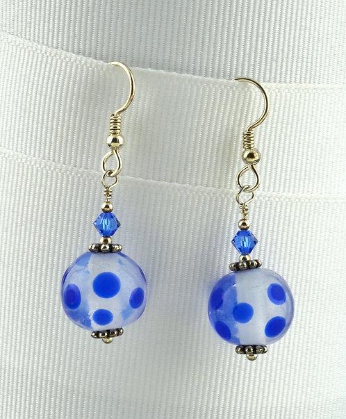 Milky cloud w/ blue dot bead earrings  #0322