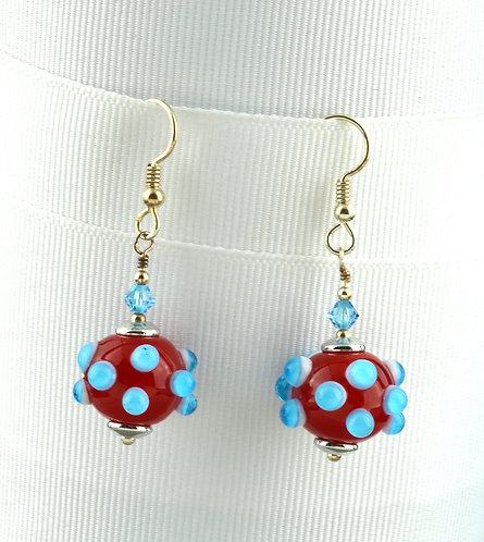 Red w/ aqua & white bump bead earrings #0353