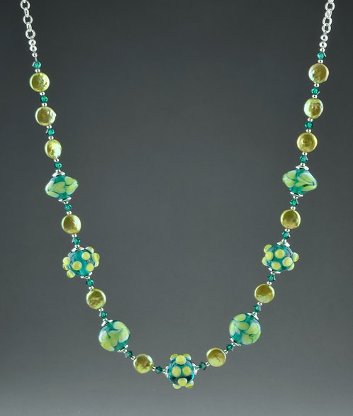 Teal w/ white & lime bead & pearl necklace 0397