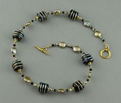 Black Cylinder Wrap Necklace 0404