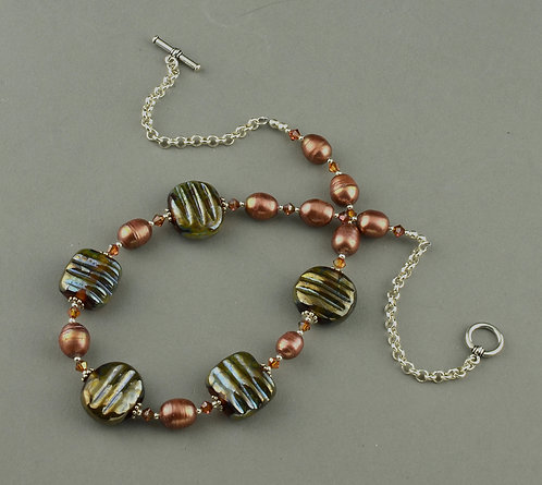 Iris gold bead & copper pearl necklace #0257
