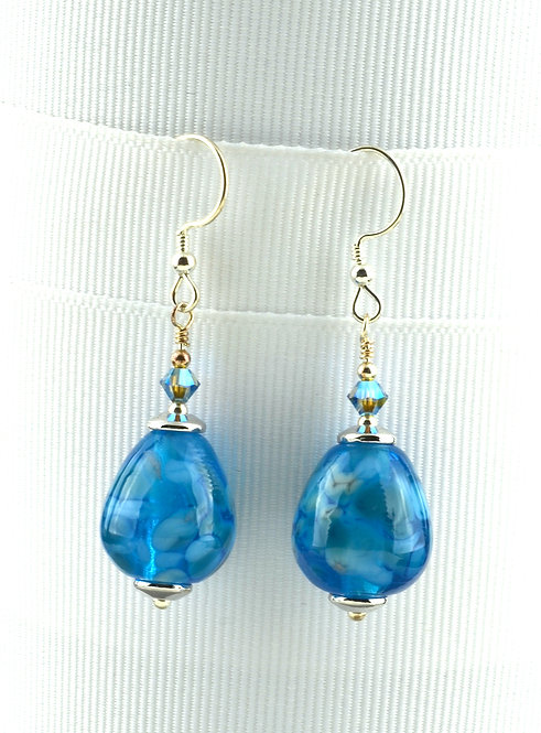 Drop shape aqua frit on aqua earings #0384