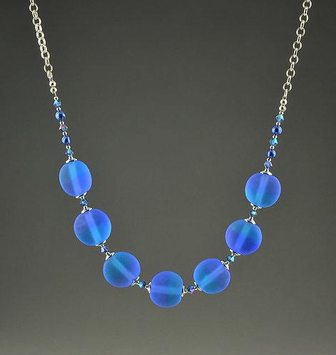 Blue & aqua lentil etched bead necklace #0399