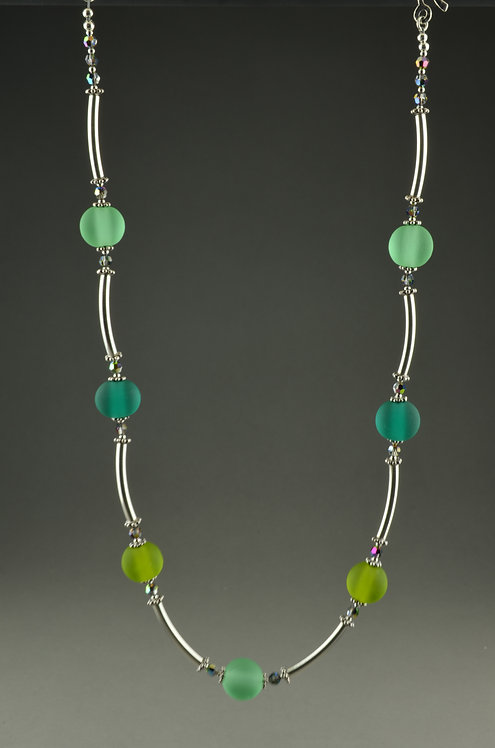Emerald,teal,olive bead & silver necklace #0403