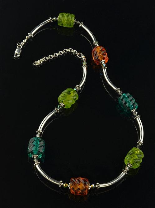 Teal, olive, topaz & silver necklace #0328
