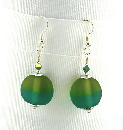 Teal & olive lentil etched bead earrings #0396