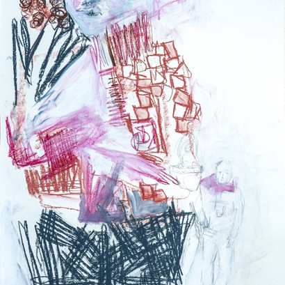 Kohle und Acryl auf Papier, 60 x 85 cm