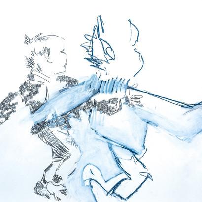 """""""Neugier"""" Bleistift und Acryl auf Papier, 85 x 60 cm"""