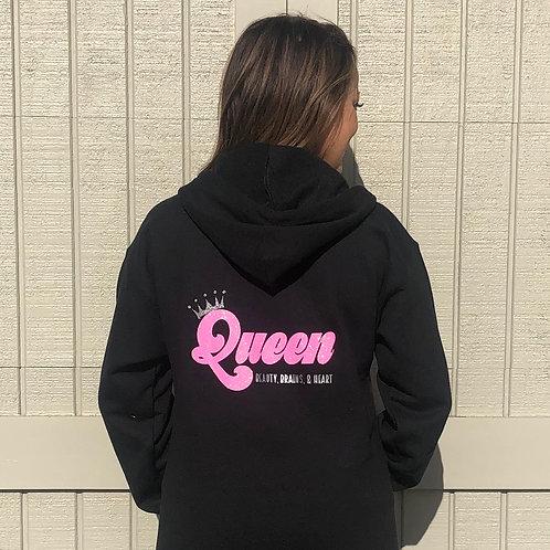 Black Full Zip Up Hoodie: Queen - Beauty, Brains & Heart