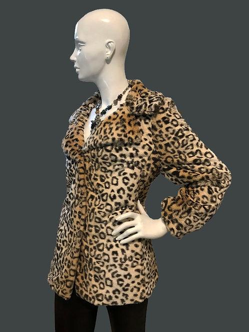 Leopard Faux Fur Jacket (M)