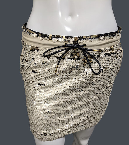 Cream and Gold Sequins Skirt (S)