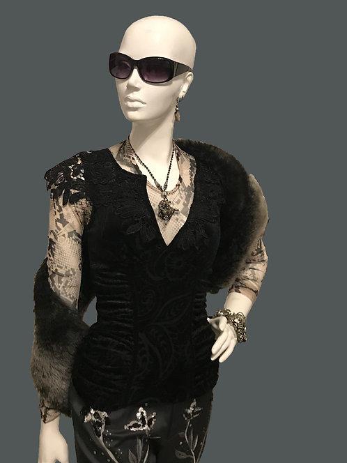 Black Lace Trim Top (S)