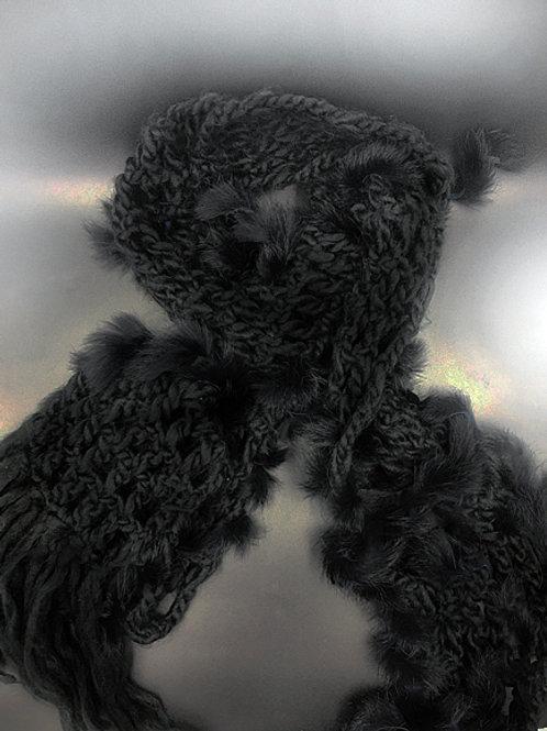 Faux fur detail scarf