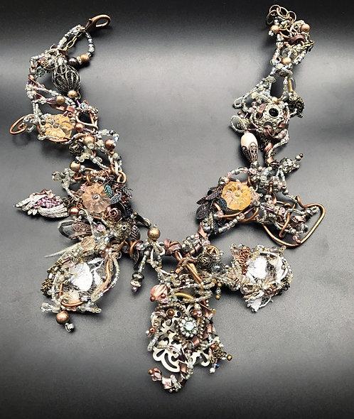 Jewelry necklace romance Fairy tales haute couture Elizabeth Nicole beadwork metalwork copper lace art pink