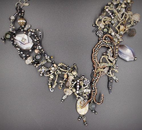 Dark Forest necklace ooak artisan jewelry ooak beadwork fashion Elizabeth Nicole