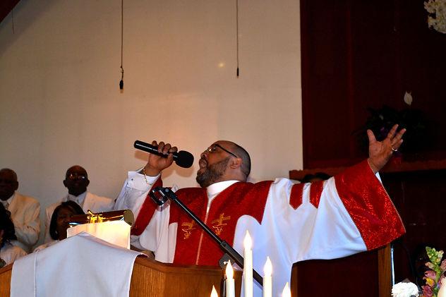 Reverend Stephen Lewis preaching