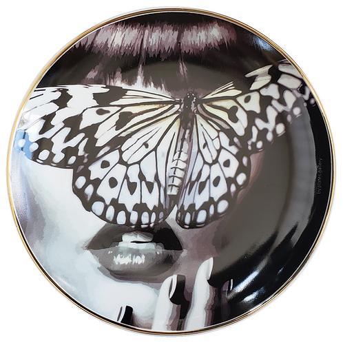 Blue butterfly woman com filete de ouro