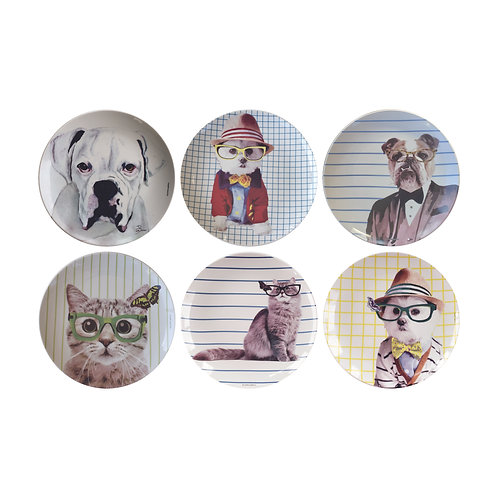 Conjunto Dogs and Cats II  (6 peças)