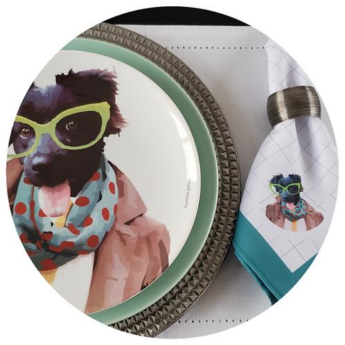 Conjunto Fashion Dog (prato+guardanapo)