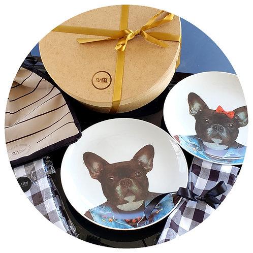 Casal Bulldog + guardanapos xadrezes + embalagem tecido + caixa de MDF