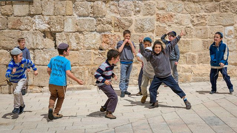 Young Jewish boys playing near the Temple Mount