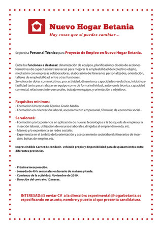 OFERTA DE EMPLEO: TÉCNICO EN ORIENTACIÓN LABORAL
