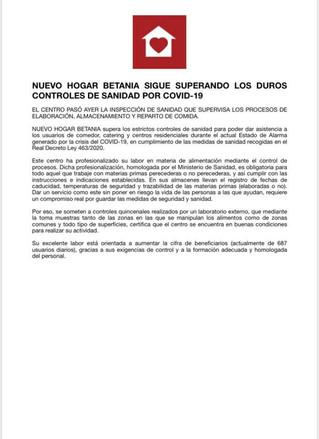Nuevo Hogar Betania sigue superando los duros controles de sanidad por COVID-19