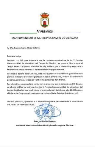 V PREMIO: Mancomunidad de Municipios Campo de Gibraltar