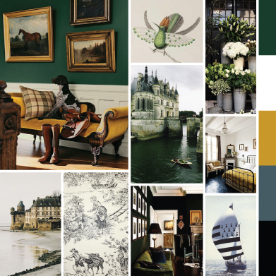 Moodboard Showing Images in a Green, Gold, Smokey Blue and Black Color Palette