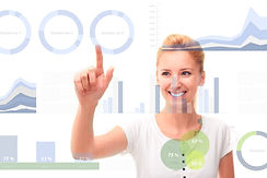 Young woman touching business infographi