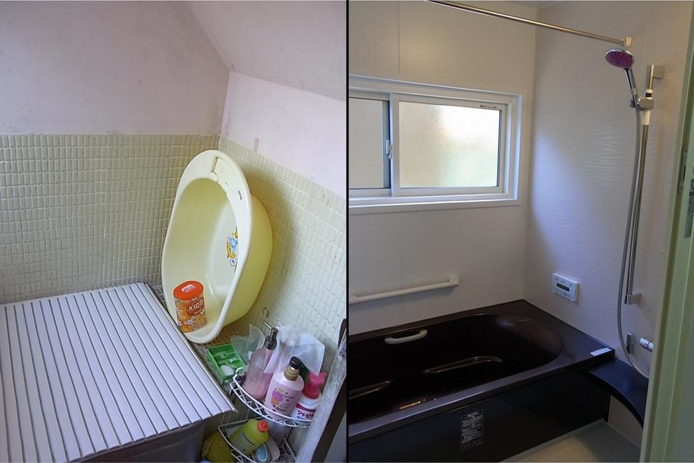 浴室の半分が階段下に!狭い浴室を広くしたリフォーム