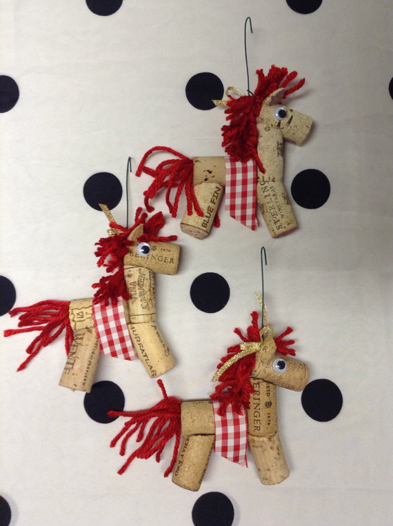 Cork Horse Ornaments