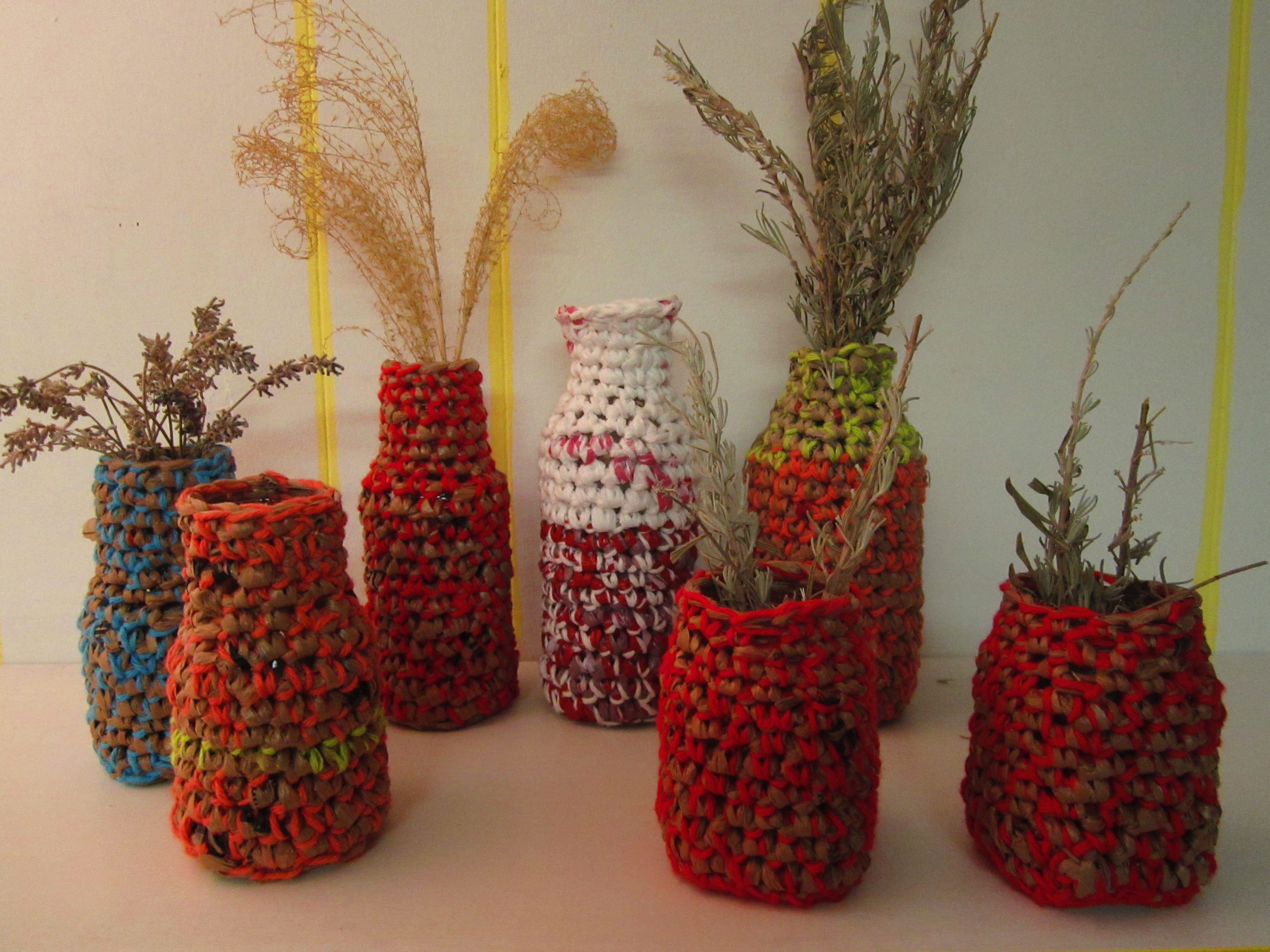 Plarn Covered Vases