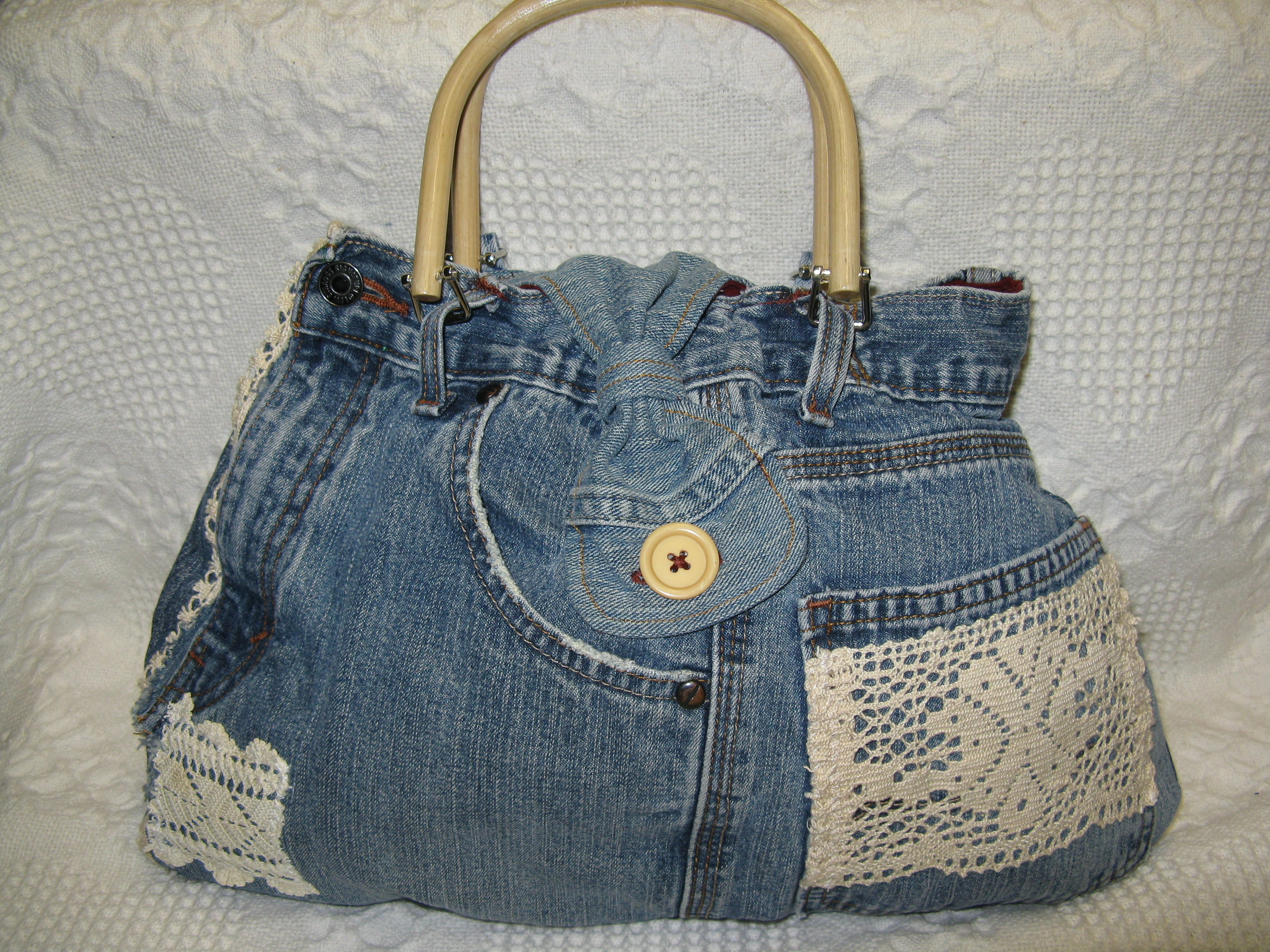 Jeans Bag with Lace