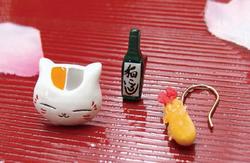 ピアス(ニャンコ先生+酒+エビフライ)