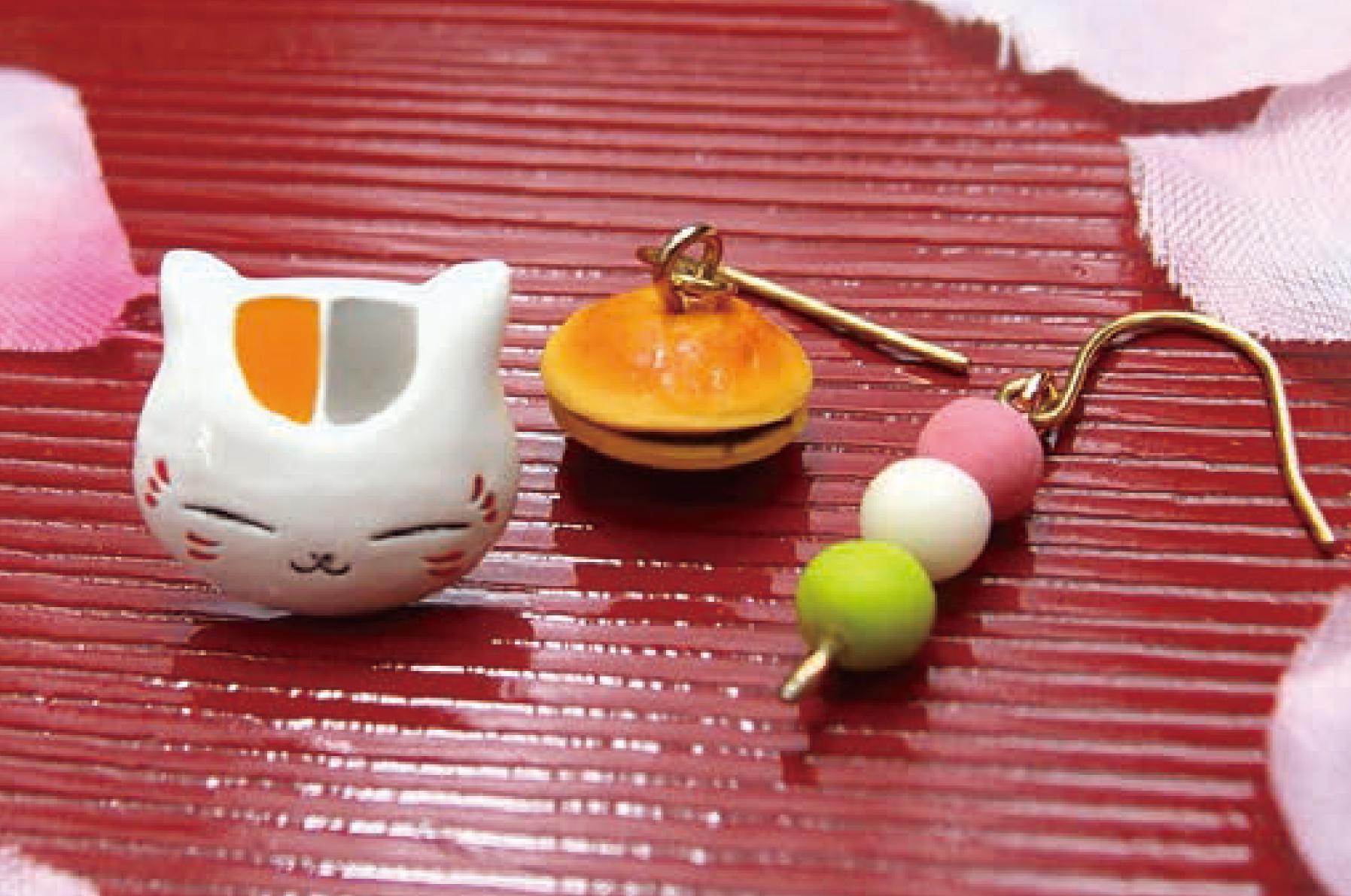 ピアス(ニャンコ先生+団子+どら焼き)