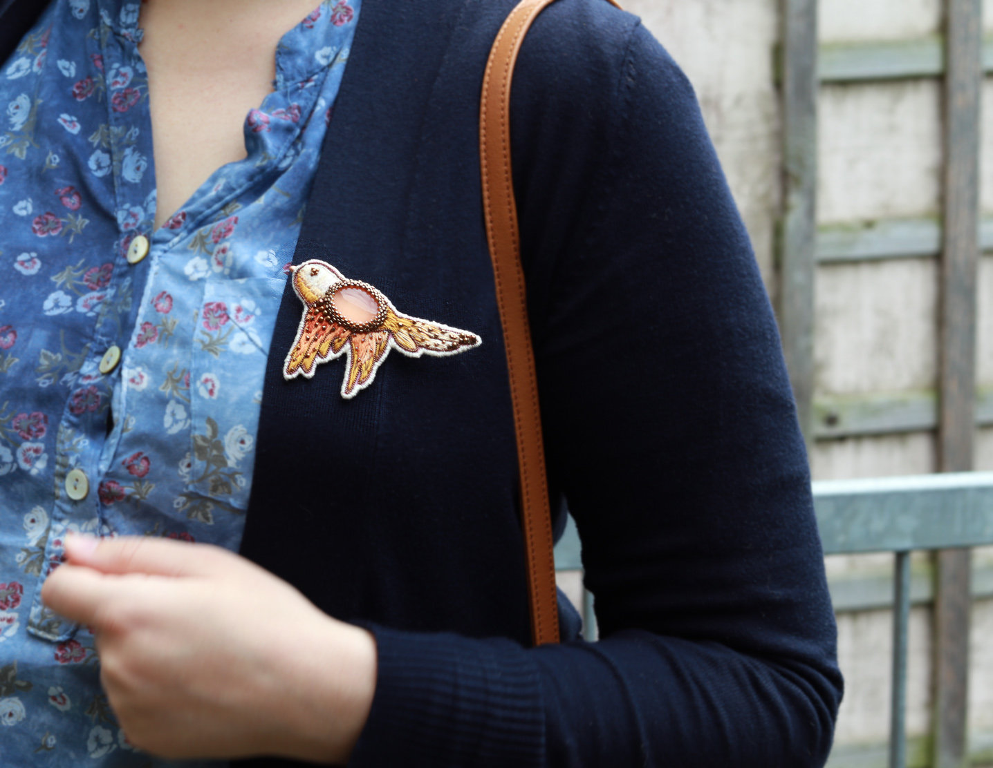 Ready to ship Autumn Orange Mouse Head Brooch