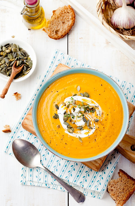 Roasted pumpkin and carrot soup with cre