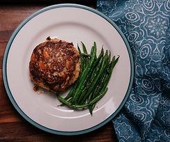 cauliflower turkey burger with grilled b