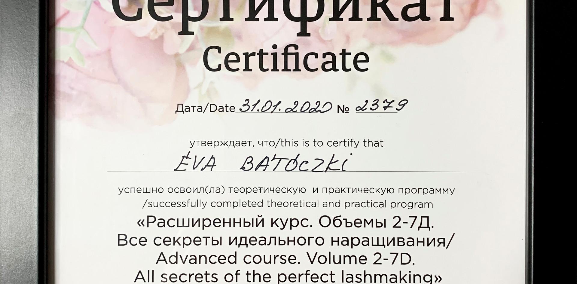 Diplôme Extension de cils - Éva Bátóczki