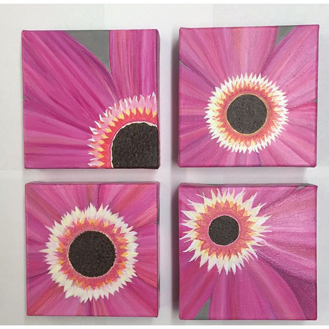 Pink flower  Acrylic 6x6 gallery wrapped canvas.jpg