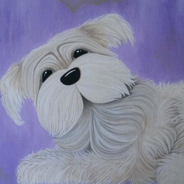 _Shaggy Dog_  #nurserydecor #acrylicpainting #childrensart #artistsofinstagram #lavender