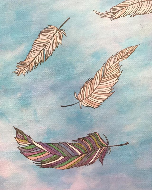 _Message_  6x8 oil  #feathers #feathersintheair #feathersfromheaven #heavensent #fallingfeathers #fe