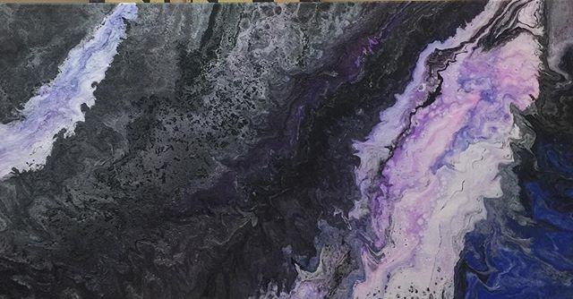 15x30 gallery wrapped canvas acrylic pour
