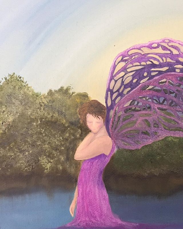 _Pink Fairy_  6x8 board canvas Oil  #fairy #oilpainting #pink #artistsofinstagram #pinkfairy #forres